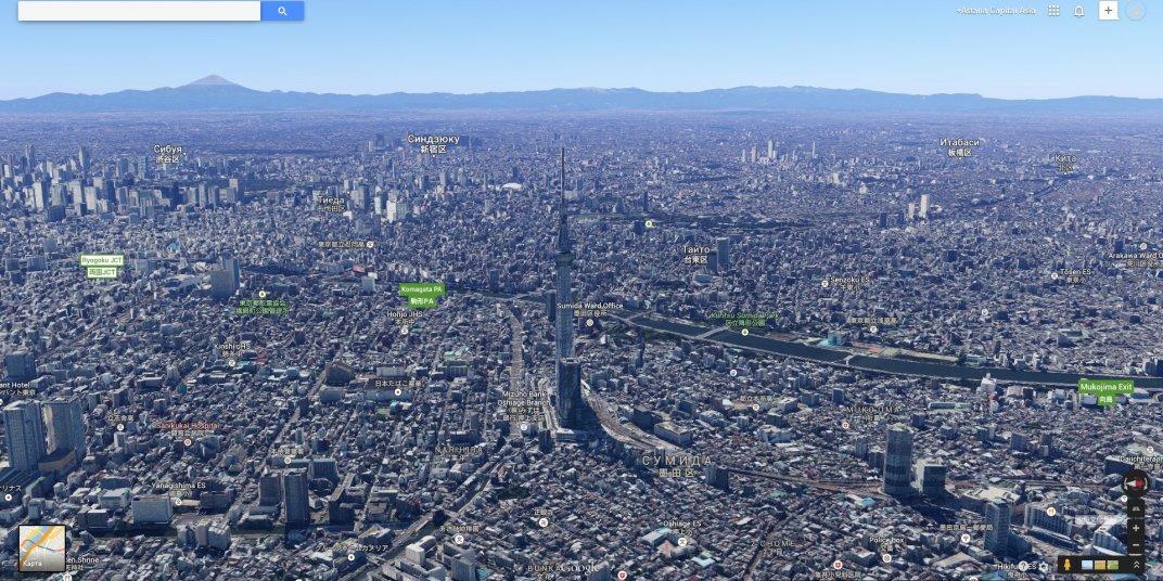 Google Maps - полет над Токио
